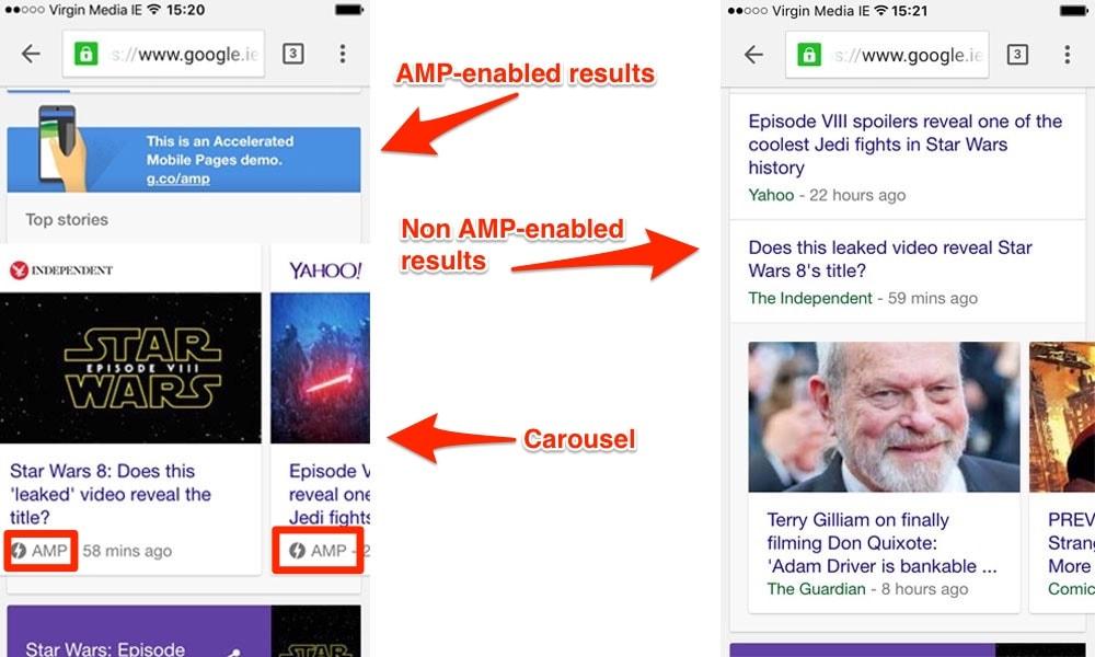 AMP enabled websites vs non AMP enabled websites