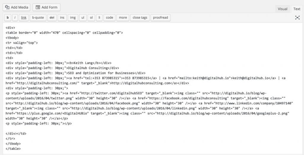 editing html signature in wordpress