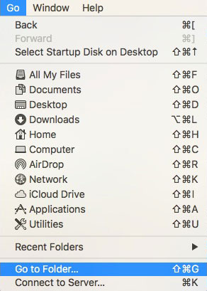 select go to folder in apple finder menu