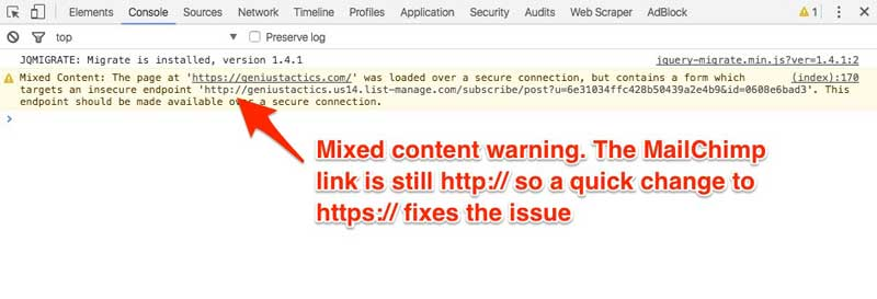 mixed content warning on https website