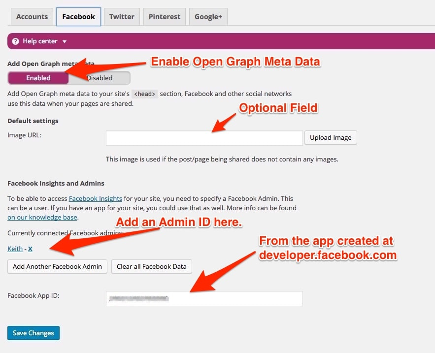 facebook open graph settings of yoast seo plugin for wordpress