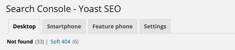 yoast search console ad 404 errors