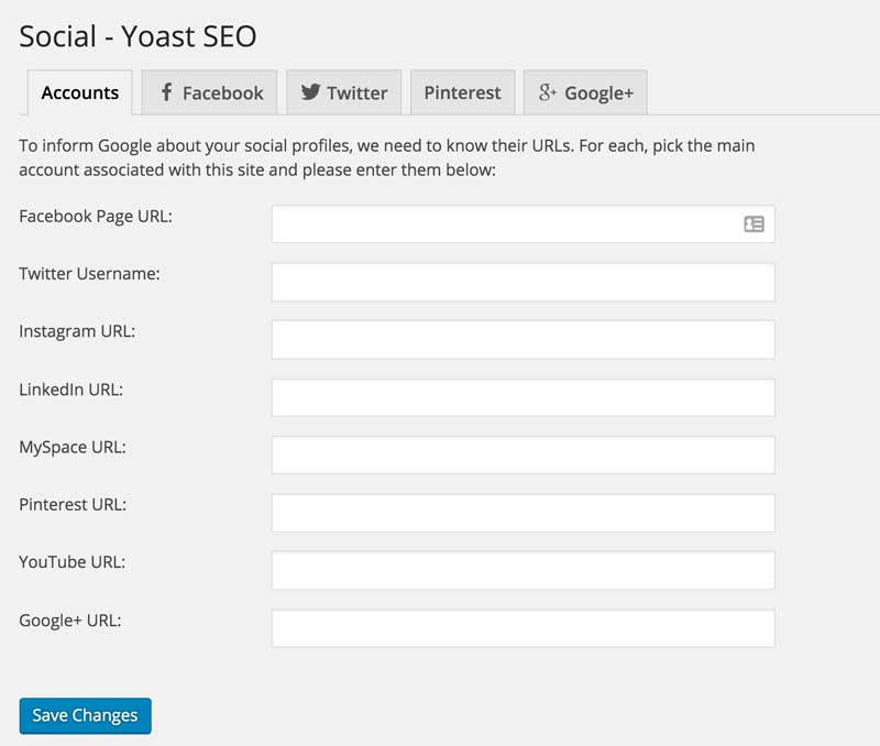 yoast seo social media settings