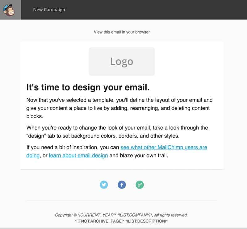 Design your email in MailChimp