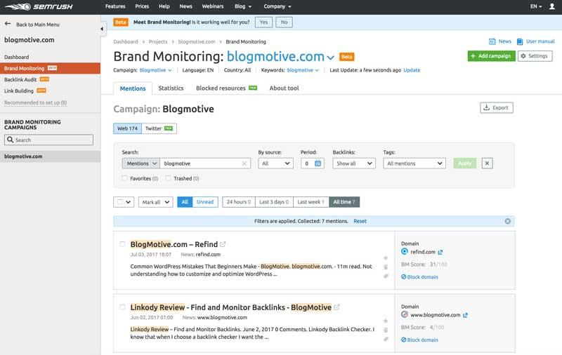 SEMrush SEO brand monitoring software