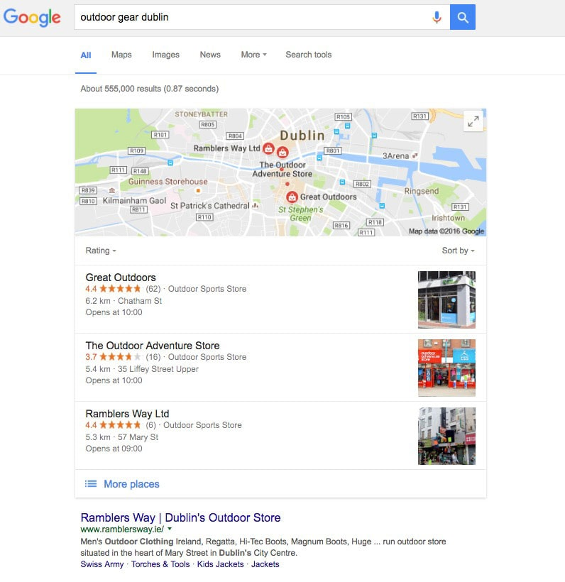 local SERP results with Google 3 Pack Local business SEO guide