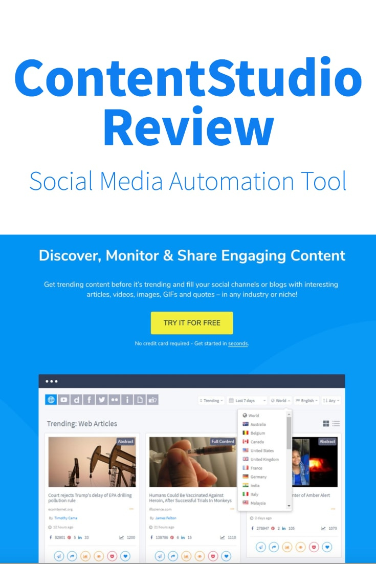 contentstudio review social media and marketing automation software pinterest