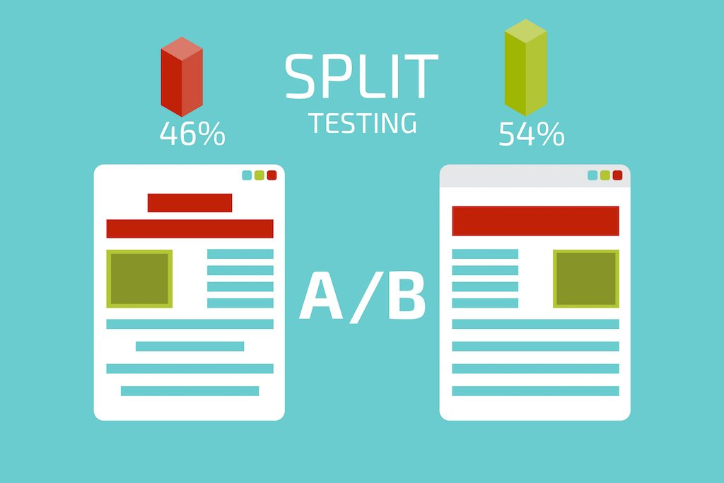 A-B comparison. Split testing Google Adwords