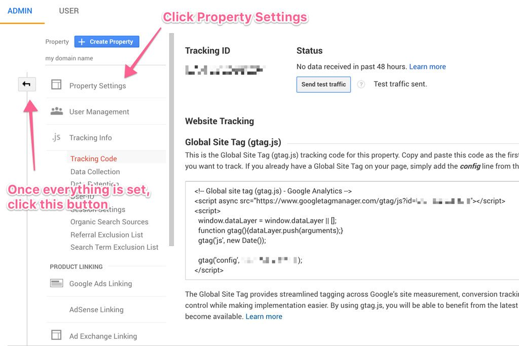 click property settings