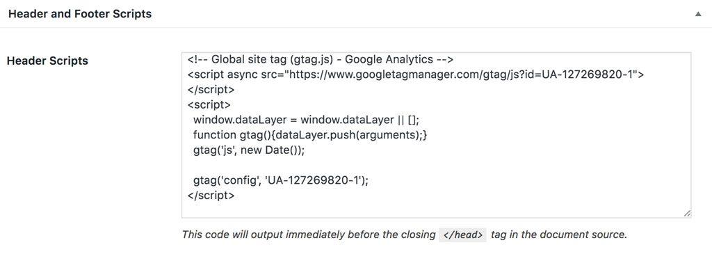 copy analytics script to genesis header