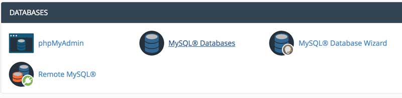 databases section of cpanel with phpmyadmin