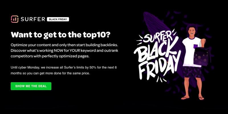Surfer SEO black friday deal