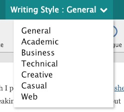 choose writing style in prowritingaid