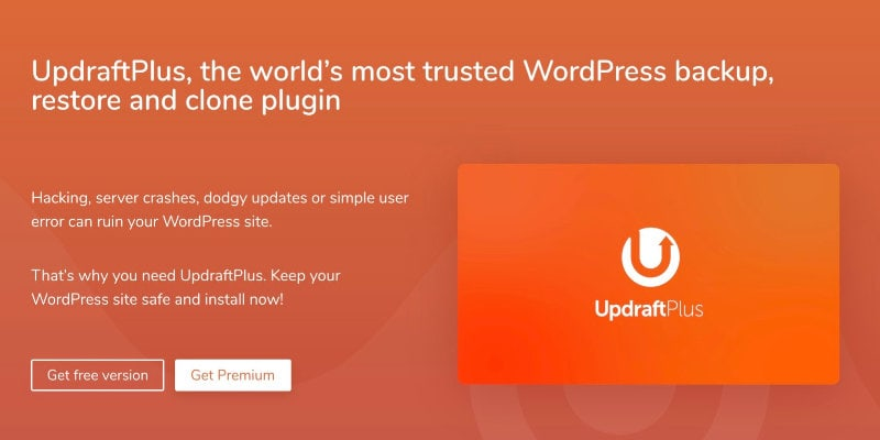 Updraft backup plugin for WordPress