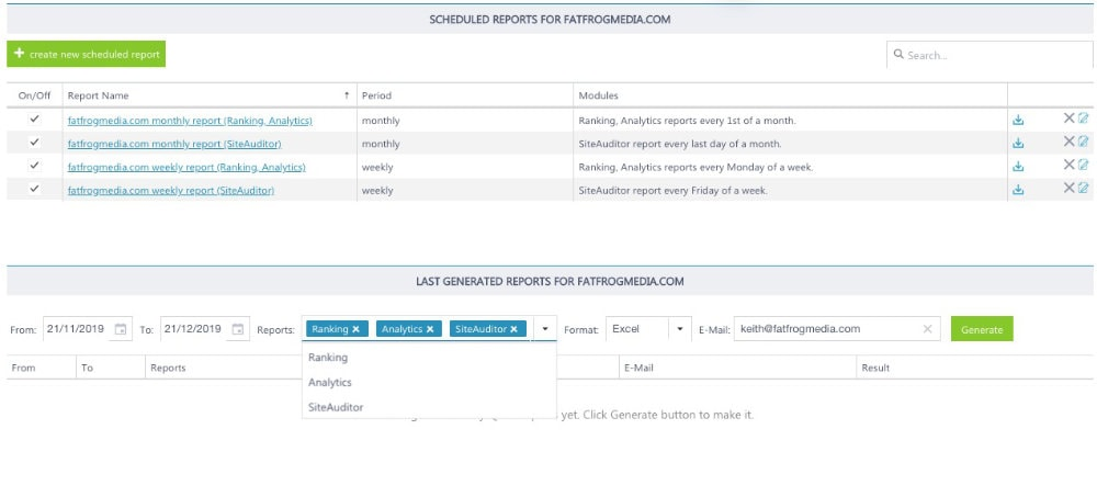 scheduling SEO reports in rankactive