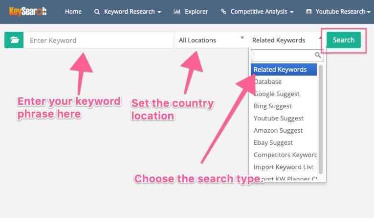 Keysearch user interface