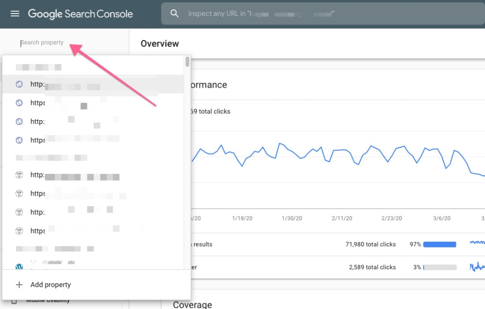 Finding Domain In Search Console