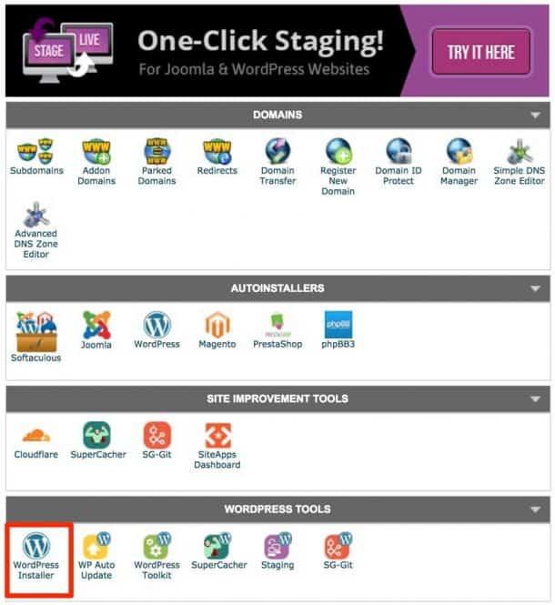 Control Panel WordPress Installer App 1 610x665 1