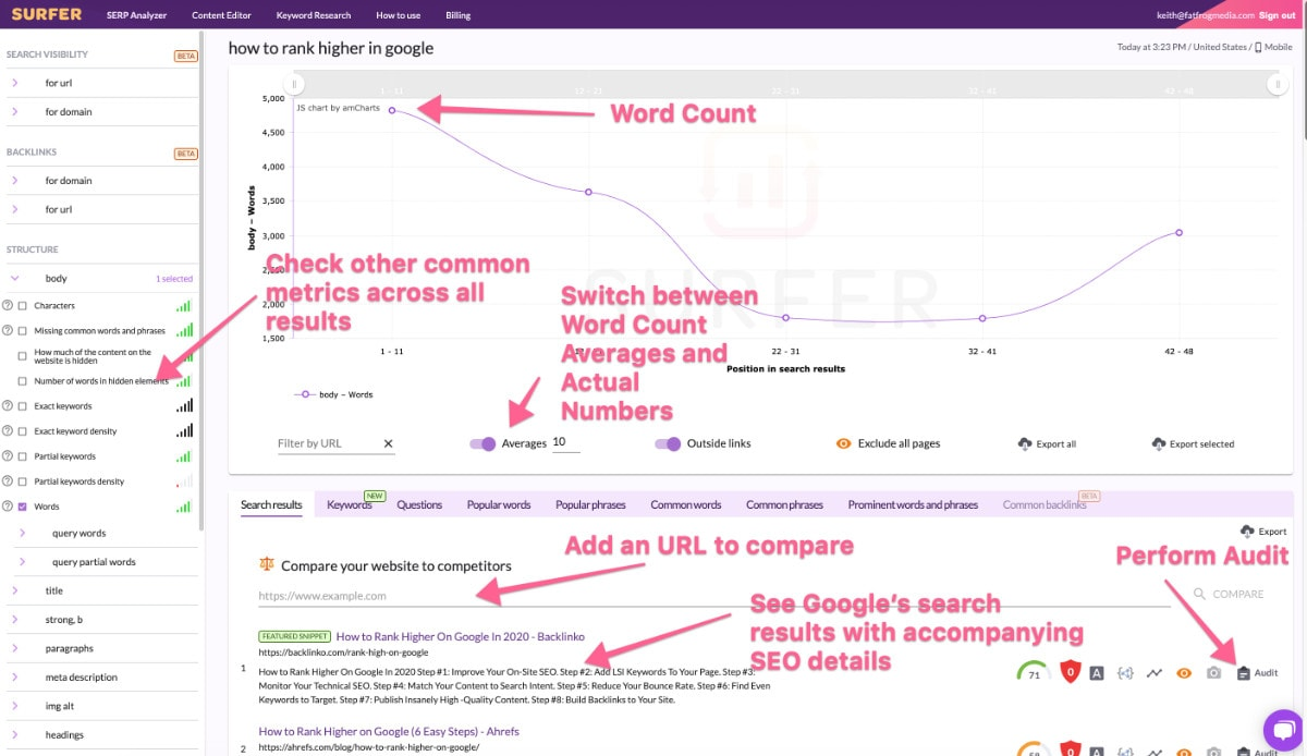 Surfer Seo Interface