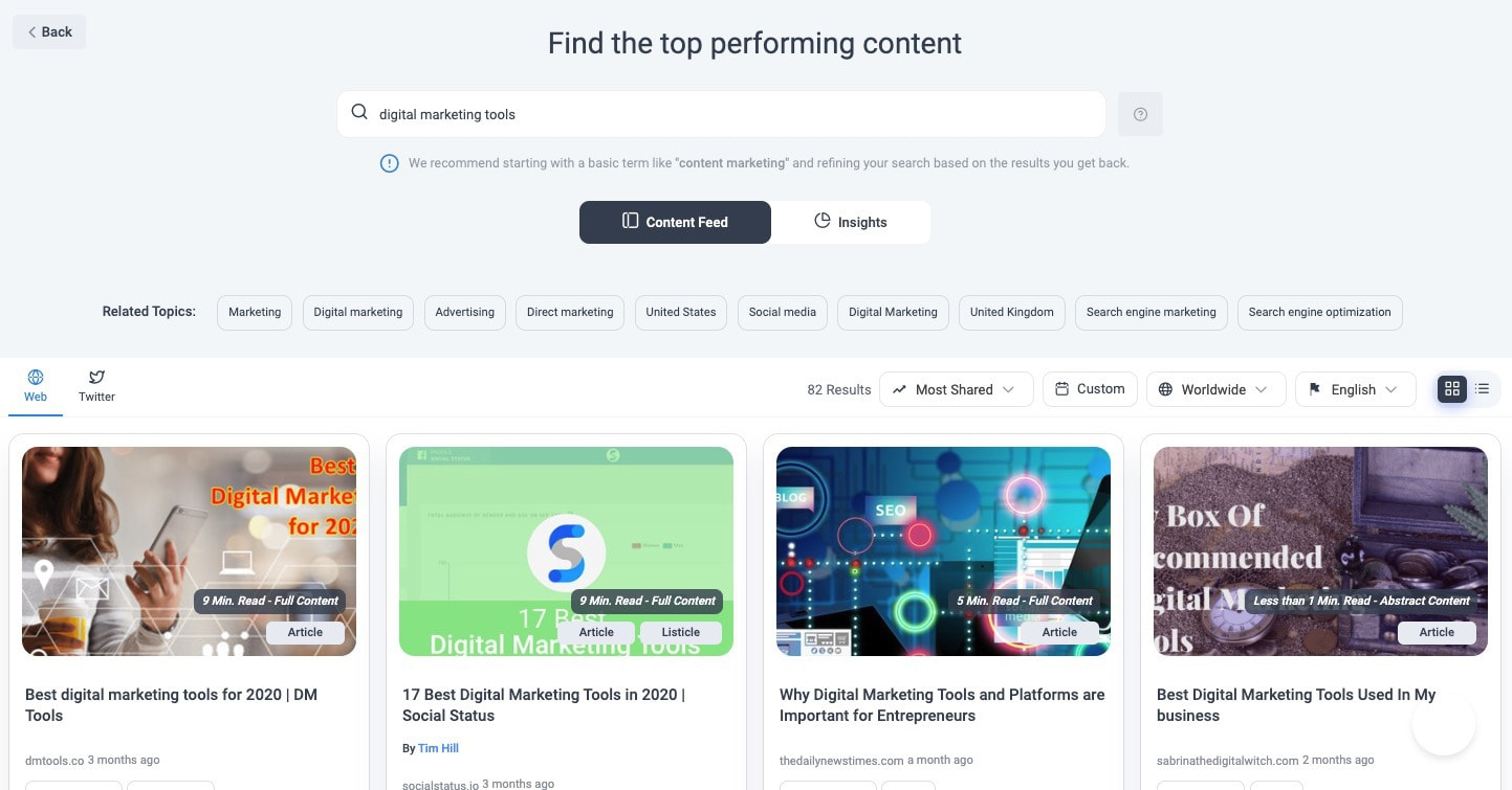 Content Discovery Section Find Relevant Topics