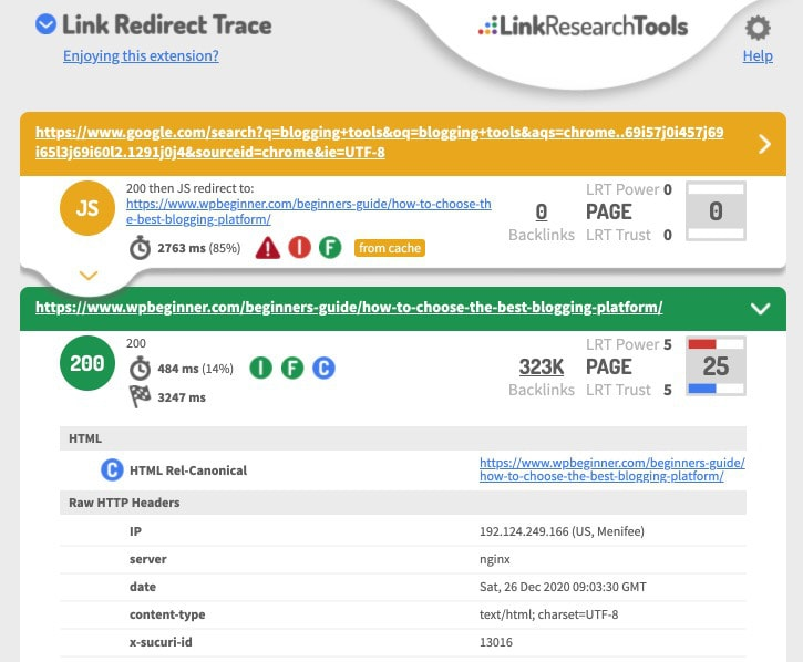 Link Redirect Trace Redirect Path Checker For Chrome