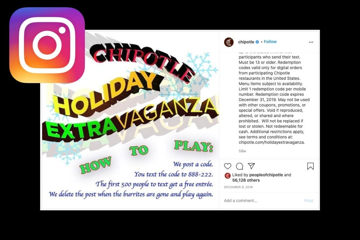 Chipotle Instagram Text Contest