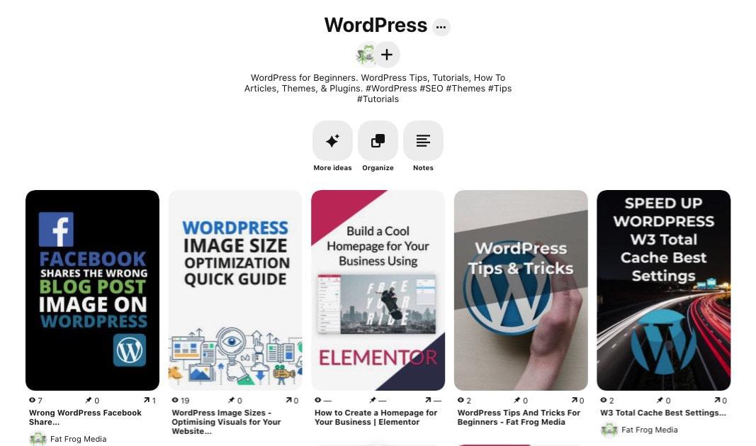 Example Of A Board In WordPress