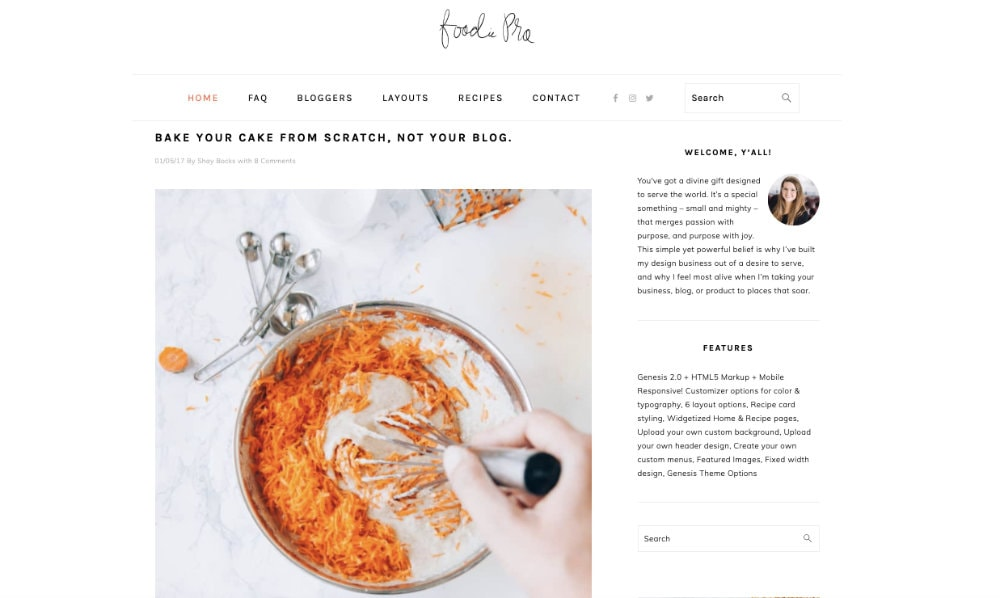 Foodie Pro WordPress Theme From Studiopress