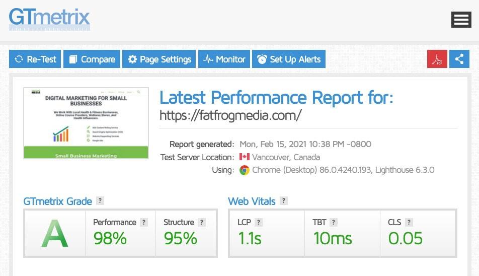 gt metrix speed report cloudways web hosting