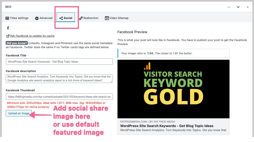 specify social share image in seo tool