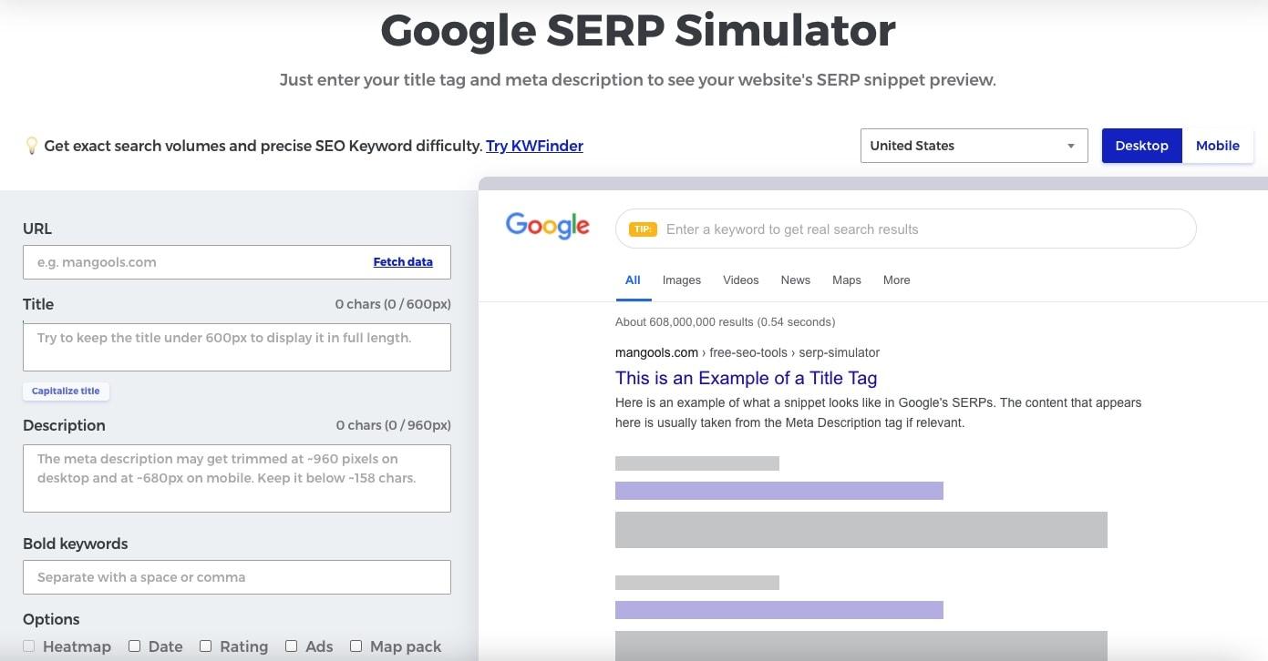 mangools google serp simulator