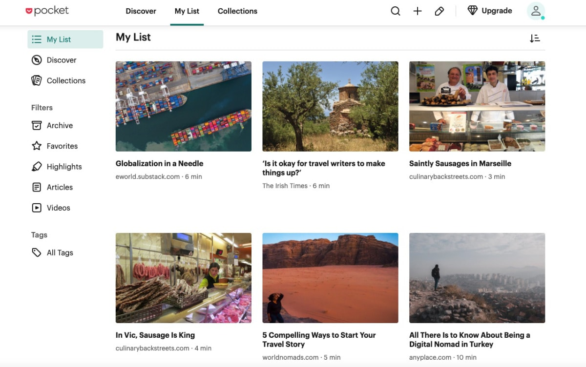 pocket find relevant content to share