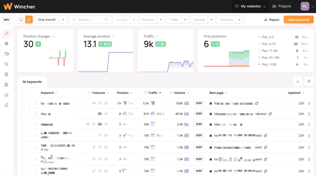 wincher serp tracking tool report