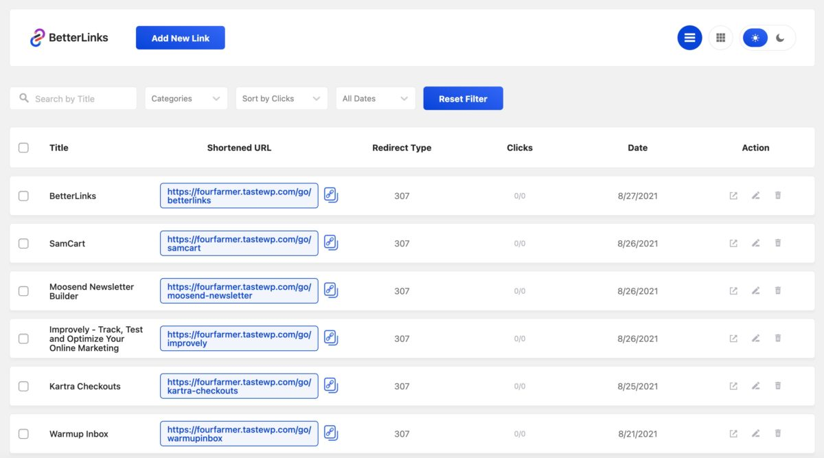betterlinks link management screen