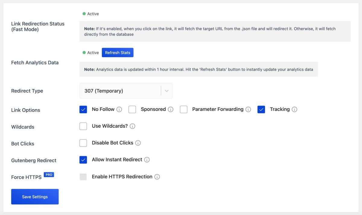 betterlinks settings screen